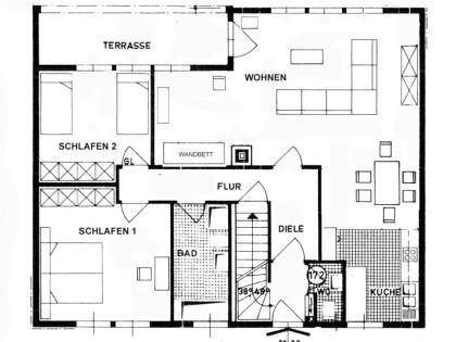 Erdgeschoss, 3 Zimmer Wohnung, Ferienwohnung Grundriss